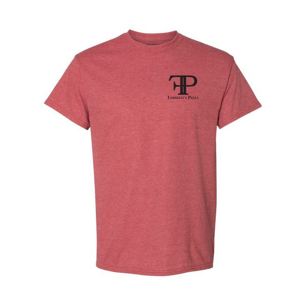 FB1019 Scarlet Heather Tee Left chest full logo