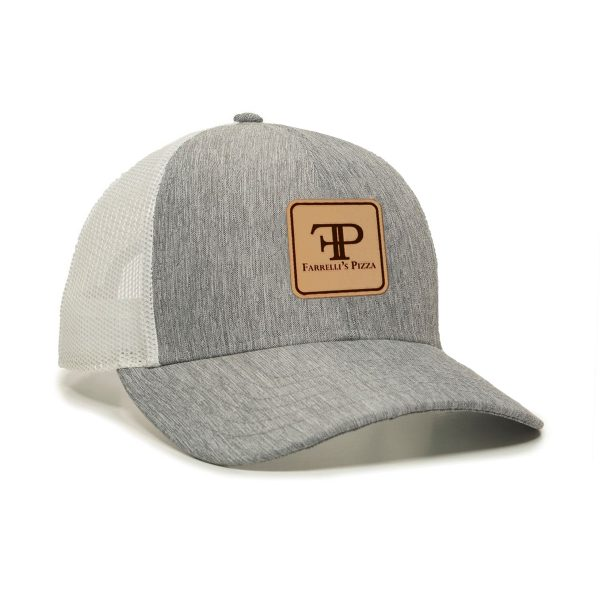 1 FP1220 Heather Grey Cap White Mesh Back Logo Square Patch 002